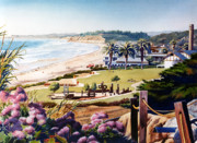 Palm Trees Paintings - Powerhouse Beach Del Mar Lilac by Mary Helmreich