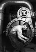 Young Man Photo Framed Prints - Powerhouse Mechanic Framed Print by Lewis Wickes Hine
