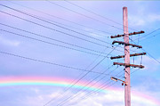Pylon Framed Prints - Powerlines Against Rainbow Sky Framed Print by Nikki Yetman