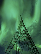 Lines Of Energy Prints - Powerlines And Aurora Borealis Print by Arild Heitmann