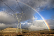 Powerline Prints - Powerlines, Rainbow Forms As Evening Print by Colin Monteath