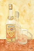 Glass Bottle Paintings - Powers Irish Whiskey by Ken Powers