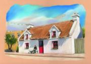 Roof Pastels Posters - Powers Thatched Pub Oughterard Connemara Poster by Vanda Luddy