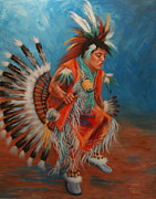 Native American Painting Framed Prints - PowWow Dancer Framed Print by Theresa Paden