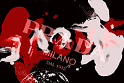 Milano Framed Prints - Prada Paint Splat Framed Print by Lisa Eryn
