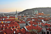 Urban Scenes Prints - Prague - A story told by rooftops Print by Christine Till