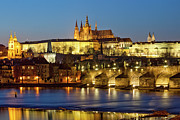 Hradcany Framed Prints - Prague - Charles Bridge And Hradcany Castle Framed Print by Frank Chmura
