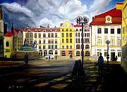 Prague Painting Framed Prints - Prague - Old Town Square at Dusk Framed Print by Madeleine Prochazka