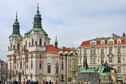 Historic Statue Prints - Prague - St Nicholas Church Old Town Square Print by Christine Till