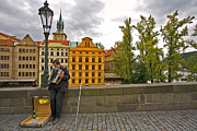 Charles Bridge Photo Acrylic Prints - Prague Accordian Player on Charles Bridge Acrylic Print by Madeline Ellis
