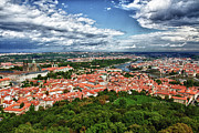 Prague Castle Framed Prints - Prague Aerial Framed Print by Jason Wolters