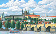 Prague Painting Framed Prints - Prague and the St. Charles Bridge Framed Print by Patrick Funke