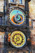 Zodiac Ring Prints - Prague Astronomical Clock 2 Print by Mariola Bitner