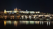 Charles Bridge Prints - Prague at Night Print by Javier De la Torre