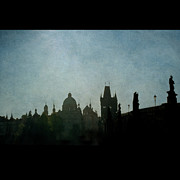 Charles Bridge Prints - Prague Backlit Skyline With Charles Bridge Print by Alexandre Fundone