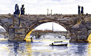 Watercolor Framed Prints - Prague Bridges Framed Print by Yuriy  Shevchuk