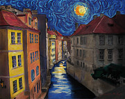 Prague Digital Art - Prague by Moonlight by Jo-Anne Gazo-McKim