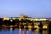 Hradcany Framed Prints - Prague Castle and Charles Bridge Framed Print by Artur Bogacki