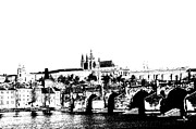 Czech Digital Art Metal Prints - Prague castle and Charles bridge Metal Print by Michal Boubin