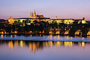 Prague Towers Photos - Prague Castle on the Riverbank by Jeremy Woodhouse