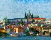 Prague Castle Digital Art Acrylic Prints - Prague Castle Acrylic Print by Peter Kupcik