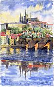 Watercolor Metal Prints - Prague Castle with the Vltava River 1 Metal Print by Yuriy  Shevchuk