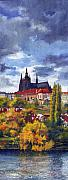 Old Painting Posters - Prague Castle with the Vltava River Poster by Yuriy  Shevchuk