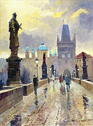 Streetscape Painting Posters - Prague Charles Bridge 02 Poster by Yuriy  Shevchuk