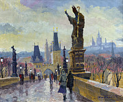 Buildings Painting Posters - Prague Charles Bridge 04 Poster by Yuriy  Shevchuk