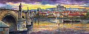 Oil On Canvas Framed Prints - Prague Charles Bridge and Prague Castle with the Vltava River 1 Framed Print by Yuriy  Shevchuk