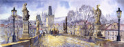 Old Architecture Prints - Prague Charles Bridge Mala Strana  Print by Yuriy  Shevchuk