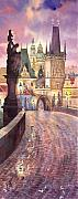Watercolour Prints - Prague Charles Bridge Night Light 1 Print by Yuriy  Shevchuk