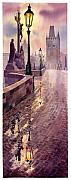 Watercolour Painting Metal Prints - Prague Charles Bridge Night Light Metal Print by Yuriy  Shevchuk