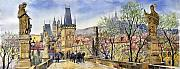 Watercolour Painting Metal Prints - Prague Charles Bridge Spring Metal Print by Yuriy  Shevchuk