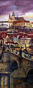 Architecture Painting Posters - Prague Charles Bridge with the Prague Castle Poster by Yuriy  Shevchuk