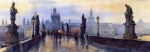 Watercolor Metal Prints - Prague Charles Bridge Metal Print by Yuriy  Shevchuk