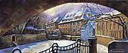 Old Pastels Framed Prints - Prague Chertovka Winter 01 Framed Print by Yuriy  Shevchuk