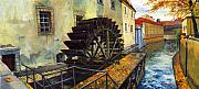 Featured Painting Prints - Prague Chertovka Print by Yuriy  Shevchuk