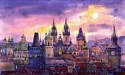 Buildings Painting Posters - Prague City of Hundres Spiers variant Poster by Yuriy  Shevchuk