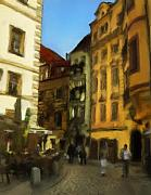Prague Mixed Media Posters - Prague citys Post Alley Poster by Sanh Tran