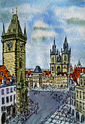 Town Square Painting Posters - Prague Czech Republic Poster by Irina Sztukowski