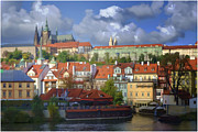 Vltava River Boat Prints - Prague Dreams Print by Joan Carroll