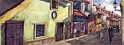 Watercolour Prints - Prague Golden Line Street Print by Yuriy  Shevchuk