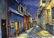 Winter Night Metal Prints - Prague Golden Line Winter Metal Print by Yuriy  Shevchuk