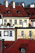 Red School House Posters - Prague Houses Poster by John Rizzuto