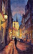 Night Painting Metal Prints - Prague Husova Street Metal Print by Yuriy  Shevchuk
