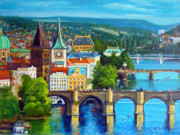 Charles Bridge Paintings - Prague by Janet Silkoff