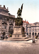 Photochrom Photos - Prague, Joseph Radetzky Memorial by Everett