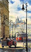 Tram Red Posters - Prague Kaprova Street Poster by Yuriy  Shevchuk