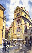 Europe Painting Framed Prints - Prague Karlova Street Hotel U Zlate Studny Framed Print by Yuriy  Shevchuk